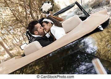 automobile, coppia, sposato, vecchio, giusto