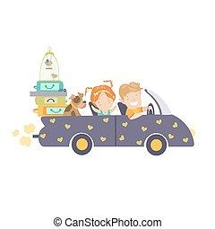 automobile, coppia, viaggiare