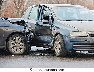 automobile crash collision in urban street - automobile...