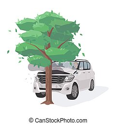 Automobile damaged by colliding with tree. Run-off-road collision. Traffic or motor vehicle accident or car crash isolated on white background. Colorful vector illustration in flat cartoon style.