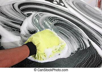 automobile, dettagliare, lavare