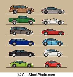 automobile, differente, set, icona