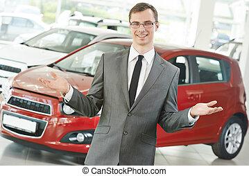 automobile, directeur, revendeur, voiture, salespersom
