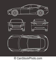 automobile, disegnare, quattro, tutto, vista, cima, lato, indietro, assicurazione, affitto, danno, condizione, relazione, forma, cianografia