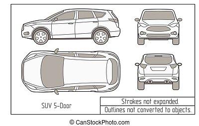 automobile, disegno, suv, oggetti, bussola, non, convertito,...