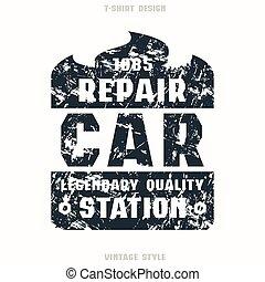 automobile, distintivo, riparazione