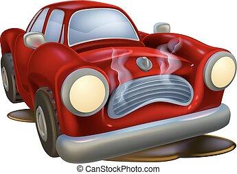 automobile, distrutto, cartone animato
