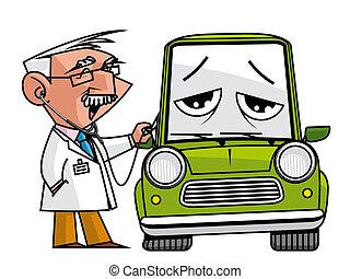 Automobile doc - Doc mechanic auscultating the automobile