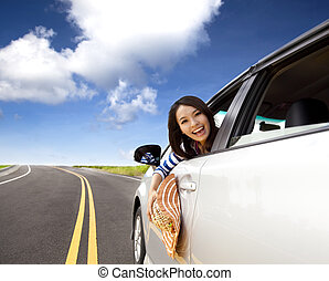 automobile, donna felice, giovane, seduta
