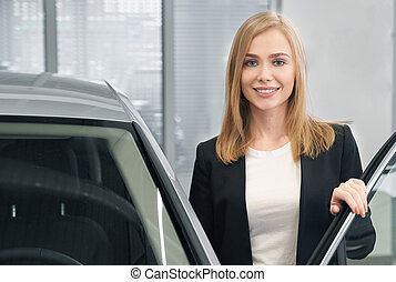 automobile, donna, proposta, dealership., automobile