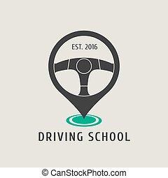 Automobile driving school vector logo, sign, emblem....