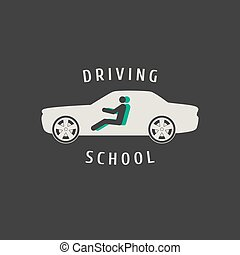 Automobile driving school vector logo, sign,  emblem. Car, auto silhouette design element. Driving lessons concept illustration, insignia, advertising
