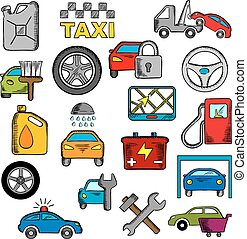 automobile, e, riparazione, servizio, icone