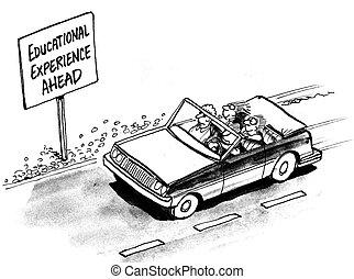 automobile, educativo, bambini, esperienza, avanti