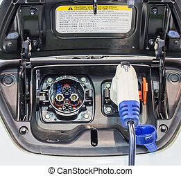 automobile, elettrico, addebitare, alimentazione elettrica