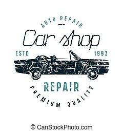 automobile, emblema, riparazione