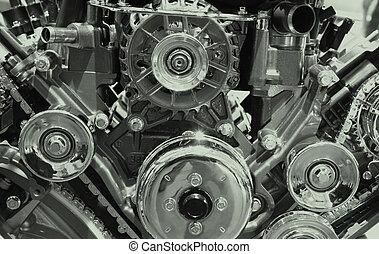 Automobile engine - Close up shot of engine showing belts...