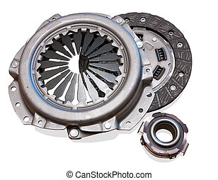 automobile engine clutch. Isolated on white with clipping path