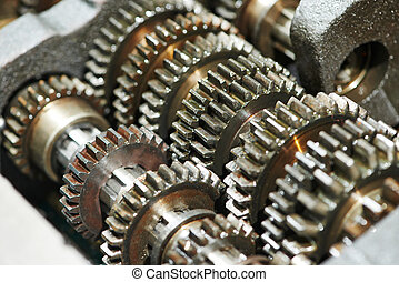automobile engine or transmission gear box - close-up of ...