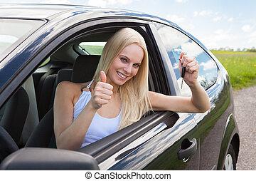 automobile, esposizione, donna, chiave, felice