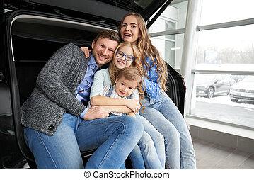 automobile famiglia, automobile., allegro, proposta, tronco