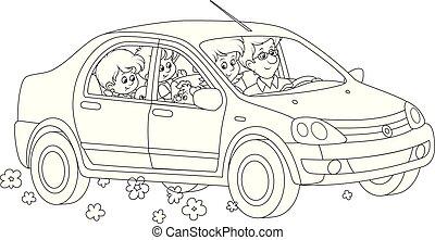 automobile, famiglia, sentiero per cavalcate