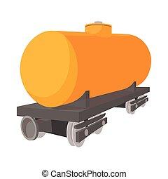 automobile, ferrovia, serbatoio, cartone animato, icona