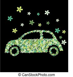 automobile, fiore, verde