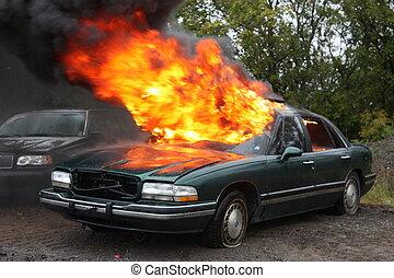 Automobile fire.