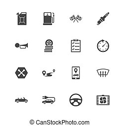 Automobile - Flat Vector Icons