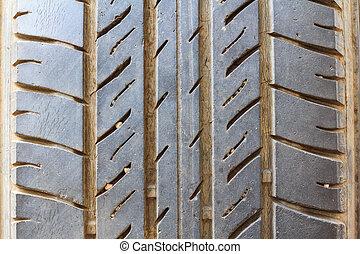 automobile, fondo, su, pneumatico, chiudere