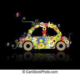 automobile, forma, nero, disegno floreale, tuo