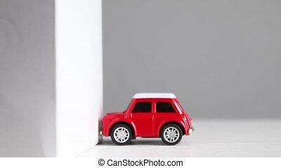 automobile, fracas, krach, bâtiment, wall., véhicule, modèle, rouges, petit, essai, voiture