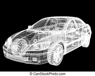 High resolution image car on a black background. 3d illustration.