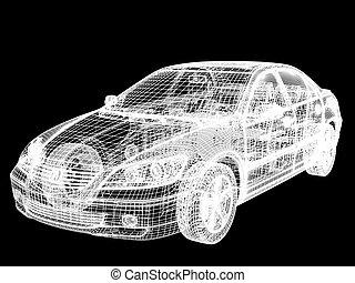 Automobile framework - High resolution image car on a black...