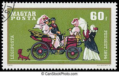 automobile, francobollo, stampato, ungheria, mostra, peugeot