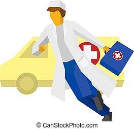 automobile, fretta, ambulanza, indietro, dottore