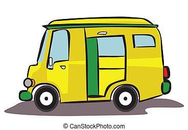 automobile, furgone, cartone animato, giallo