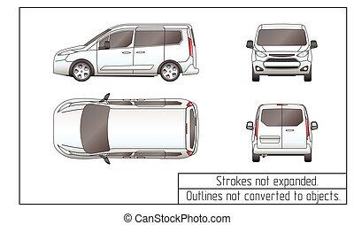 automobile, furgone, disegno, profili, non, convertito, a, oggetti