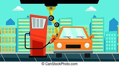 automobile, gas, robot, su, ripieno, carburante, station.