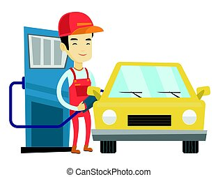 automobile, gas, su, carburante, stazione servizio, lavoratore