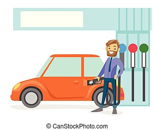 automobile, gas, su, ripieno, carburante, station., uomo