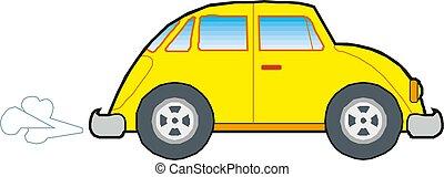 automobile, giallo, fondo., vettore, illustrazione, bianco, icona