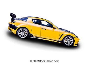 automobile, giallo, sport