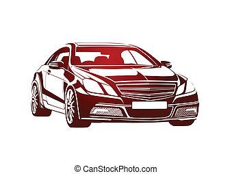 automobile, grande, rosso, capo