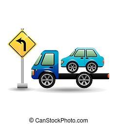 automobile, gru, camion, segno strada