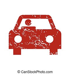 automobile, grunge, rosso, logotipo