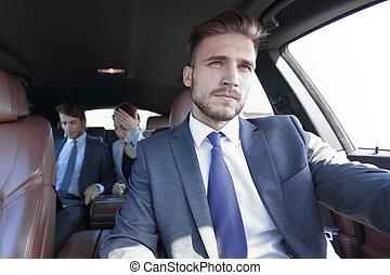 automobile, gruppo, lusso, persone affari