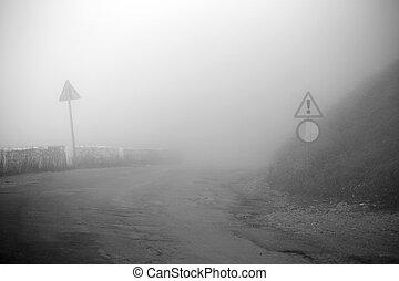 automobile, guida, il, nebbia, strada