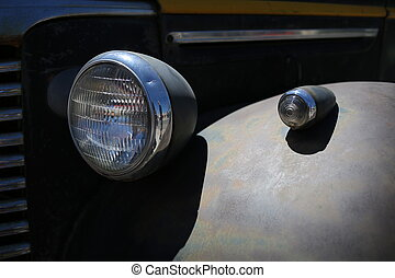 Automobile headlight. Close up